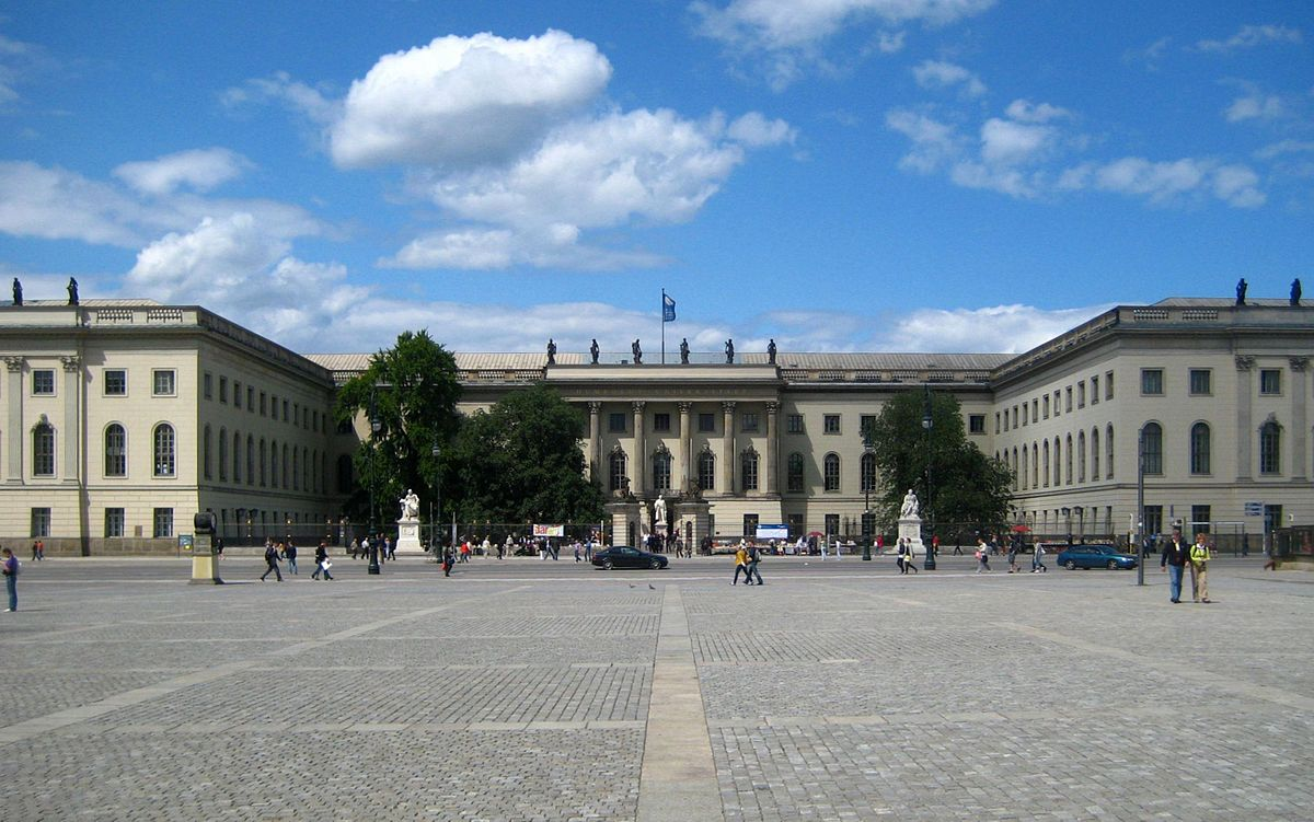 Main building of Humboldt University in Berlin, Unter den Linden, as seen from Bebelplatz. Image from Wikimedia Commons, Creative Commons Attribution-Share Alike 3.0 Unported license.