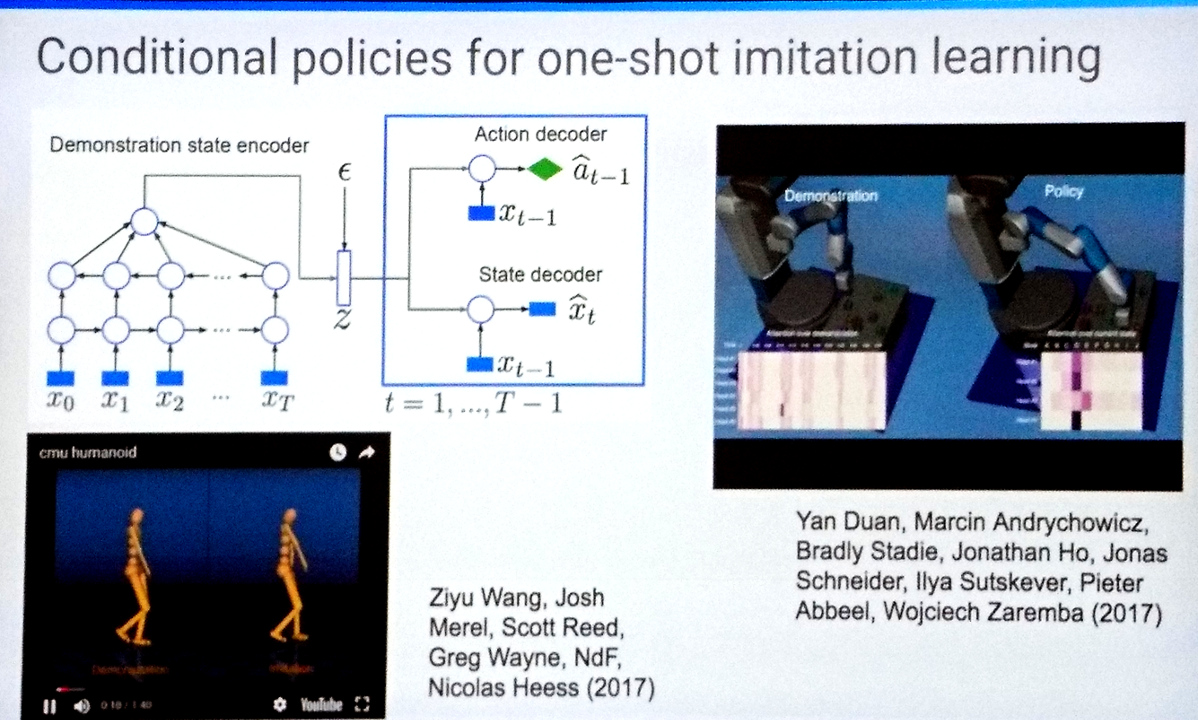 Conditional policies for one-shot imitation learning.